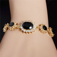 Fashion Women Gold Plated Crystal Bangle Bracelet Chain Wristband Jewelry Gift