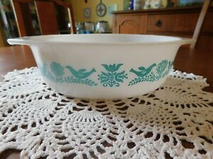 Vintage Promo Pyrex Turquoise & White Bluebird #043 Casserole Without Lid