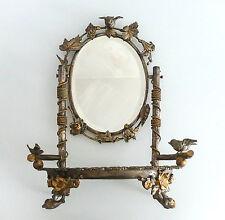 Superbe miroir psyché de table, en bronze argenté et doré, époque fin XIX ème.