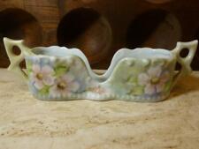 Vintage Hand Painted Porcelain Pink Flowers Spoon Utensil Rest Holder Signed