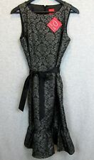 Oscar De La Renta Black Silver Textured Cocktail Dress Size 6 NWT 2007