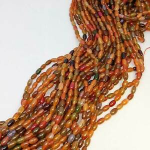 Russet (mainly) coloured agate beads, 4mm x 6mm for jewellery making