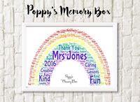 Personalised A4 Rainbow Teacher Word Art Christmas Thank You Gift TA Nursery