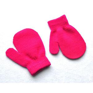 Solid Soft Winter Warm Mittens Knitting Gloves For Age 2-5 Children Kids Baby