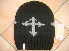 (M15) Grobstrick Mütze FREAKY HEADS Beanie Wintermütze mit Kreuz & Logo Aufnäher