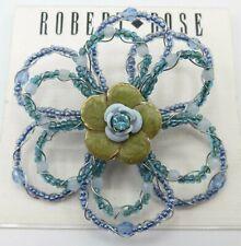 Bead Flower Brooch, Pin Nwt Robert Rose Blue Glass Seed