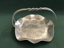 VTG Farber & Shlevin Hand Wrought Hammered Aluminum Floral Basket Twisted Handle