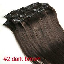 """16""""18""""20""""22"""" 7PCS Clip In Remy Human Hair Extensions All Color UK Full Head"""