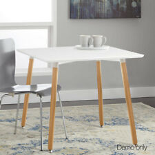 Replica Eames Cafe Retro Dining Table Wooden White Kitchen Beech Wood Square New