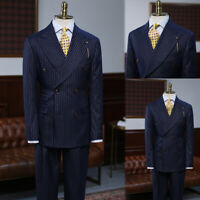 Striped Men Suits Double Breasted Coats Business Blazer Tuxedos Wool Blend Strip