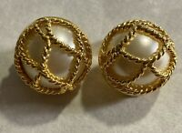 joan rivers clip on earrings pearl gold tone wire cage