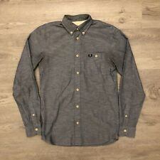 Fred Perry Mens Blue Long Sleeve Button Shirt Cotton Casual Mens Sz XS