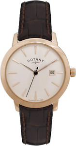 Rotary Women's Quartz Silver Dial Analogue Display and Brown Leather Strap LS024