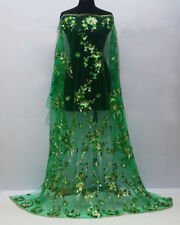 1 Meter Flower Sequins Mesh Embroidery Gold Metal Dress Bridal Lace Fabric Green
