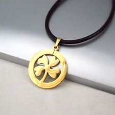 Gold Four Leaf Clover Celtic Lucky Charms Pendant Dark Brown Leather Necklace