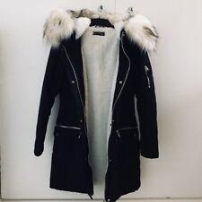 Miss Selfridge Black Faux Fur Parka Coat. Size UK Petite 6.