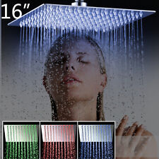 LED Bathroom 16'' Rainfall Ceiling Mounted Shower Head Faucet Hand Mixer Taps