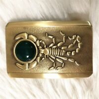 Vintage Antique Pure Brass Belt Buckle Scorpion and Jade Western Cowboy boucle