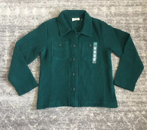 Cabelas Womens L Waffle Jacket Forest Green Button Up Collar Pockets C4