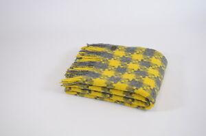 TWEEDMILL TEXTILES SOFA BED THROW BLANKET 100% PURE WOOL  JIGSAW CHARCOAL YELLOW