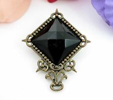 "BLACK GLASS Faceted Pin Vintage BROOCH Dark Goldtone Square-Diamond 1 3/4"""