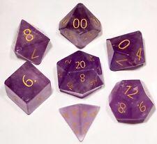 Gemstone Polyhedral Dice Set: 16mm ENGRAVED Amethyst Dungeons Dragons DND RPG