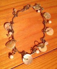 Pretty Boho Shell Bracelet/Natural Shell Disc Pieces/Silver Lk/Hippy/Boho/Beach