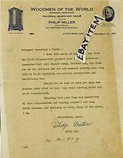 1913 letterhead PHILIP MILLER Little Rock Arkansas WOODMEN of THE WORLD J C Root