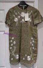 Zara Khaki Embroidered Linen Dress XS Extra Small 6 New