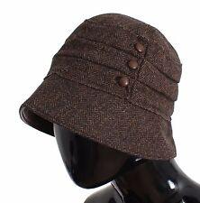 NUOVA CON ETICHETTA DOLCE & Gabbana marrone lana pelle sacca CAPPELLO HAT S.58 /