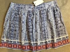 M&S BLUE & WHITE PATTERNED SKIRT WITH EMBROIDERED HEM IN RED/ORANGE-SIZE 14-BNWT