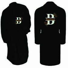 Personalised Name Embroidered Initial Bathrobe Toweling Dressing Gown Luxury Spa