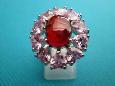 925 Silver Natural Garnet & Heart Shaped Topaz Ring Size S 1/2, US 9.25 (rg1806)