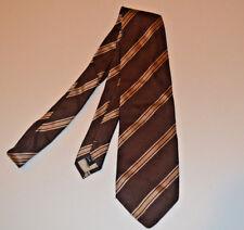 GIORGIO ARMANI Tie Brown w/ Tan & White Stripes 58 X 4 Silk HAND MADE Necktie