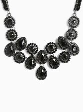 "Torrid Short Gemstone Statement Necklace 16"" Black #48517"