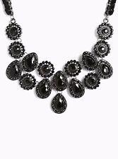 """Torrid Short Gemstone Statement Necklace 16"""" Black #48517"""