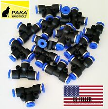"""20pcs Pneumatic Tee Union Connector Tube OD 5/16"""" 8mm One Touch Push Air Fitting"""