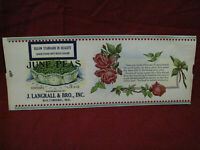 Vintage J. Langrall & Bro Inc. June Peas Advertising Paper label