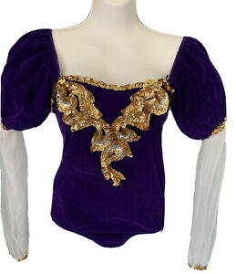 Curtain Call Costume Dance Girl Child 14 C 14C Purple Velvet One-Piece Sequined