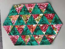 Set of 4 Vtg Quilt Kitchen Table Placemats MCM Triangles Handmade Cabbage Roses