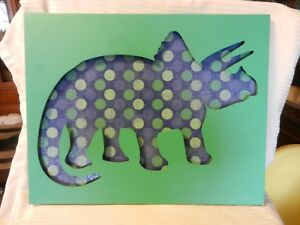 Green Purple and White Triceratops Dinosaur 3-D Painting Mixed Media