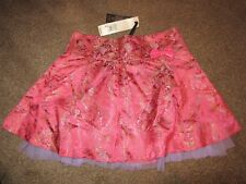 BNWT UK 8 RIVER ISLAND SKIRT Oriental Tapestry Floral Pink Mesh Bows Cute Mini