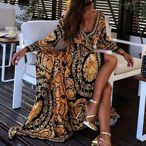 Boho Maxikleid Damen Kleid Sommerkleid V-Ausschnitt Strandkleid Urlaub Party