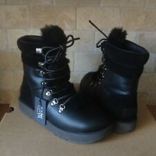 UGG VIKI BLACK WATERPROOF LEATHER SHEEPSKIN SHORT SNOW BOOTS SIZE US 8 WOMENS