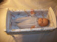 "CUTE 17"" BERJUSA NEWBORN BABY GIRL DOLL ANATOMICALLY CORRECT WHITE WOODEN CRIB"