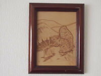 Rare Signed Painting of Squirrel Etched on Leather Original Art by R & J Howlett