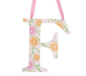 Pottery Barn Girls Letters Wall Hanging F Orange Floral Pink Kids New