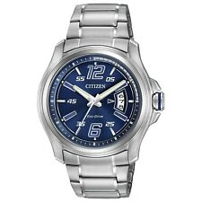 Citizen Eco-Drive Men's AW1350-83M HTM Blue Date Dial Silver-Tone 43mm Watch