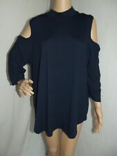SAY WHAT Plus Size 3X NAVY BLUE COLD SHOULDER MOCK NECK SHIRT 26-28 soft top