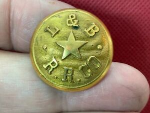L&B RR Co. LYNN AND BOSTON RAILROAD 25.3mm GILT COAT BUTTON 1889 SCOVILL 54/11